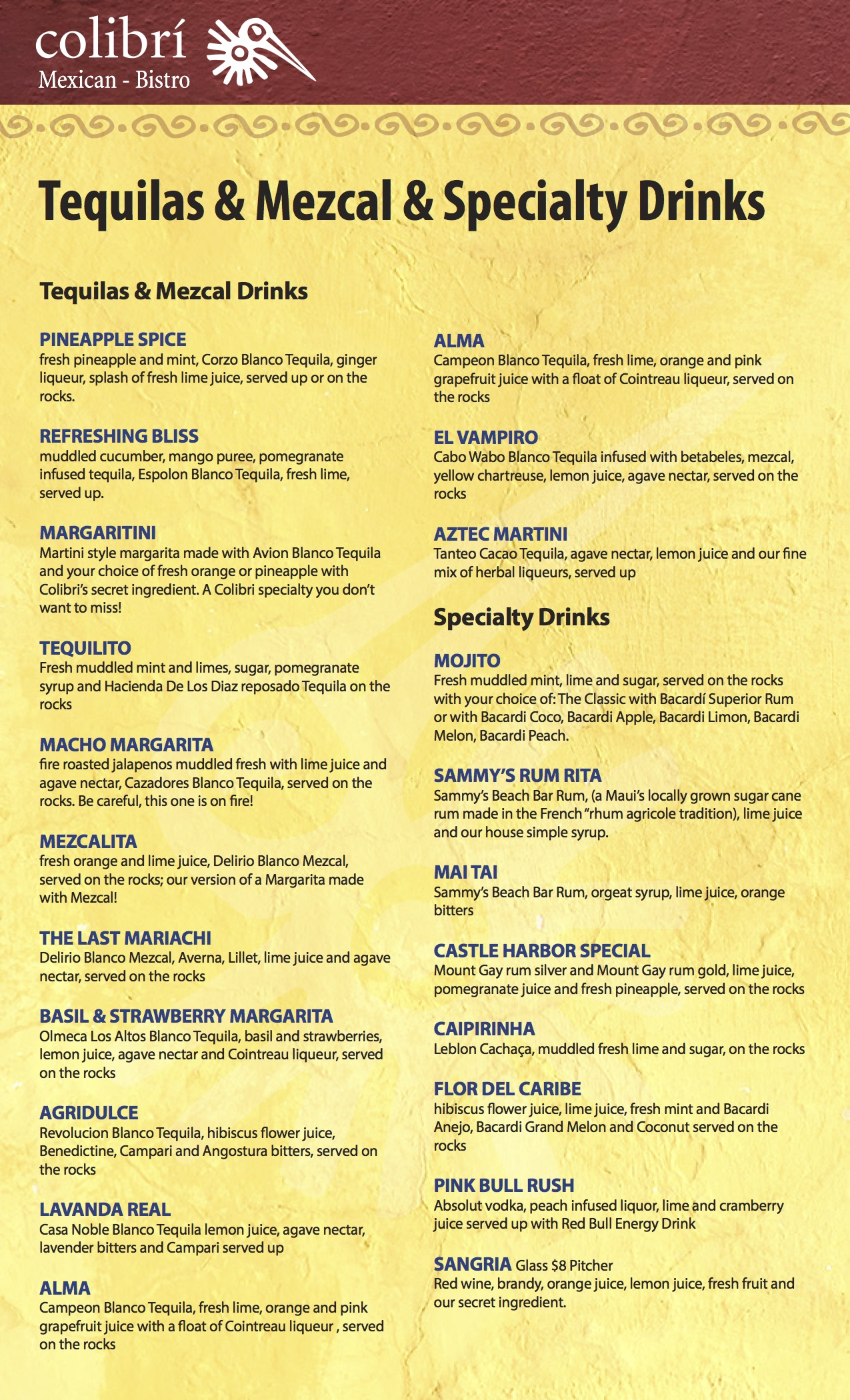 Colibri Drinks Menu