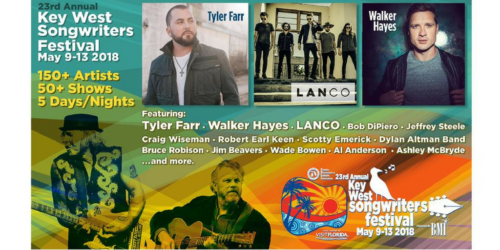 Tyler Farr, Walker Hayes, LANCO to Headline the 2018 Key West Songwriters Festival