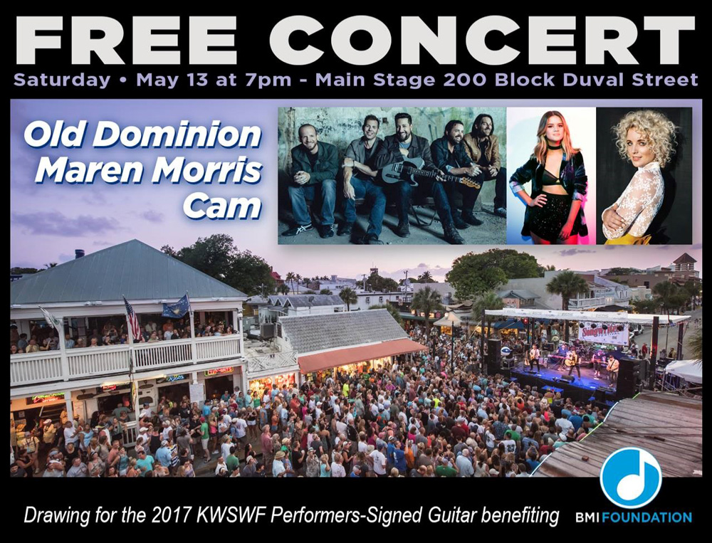 Old Dominion, Maren Morris, Cam to Headline the 2017 Key West Songwriters Festival.