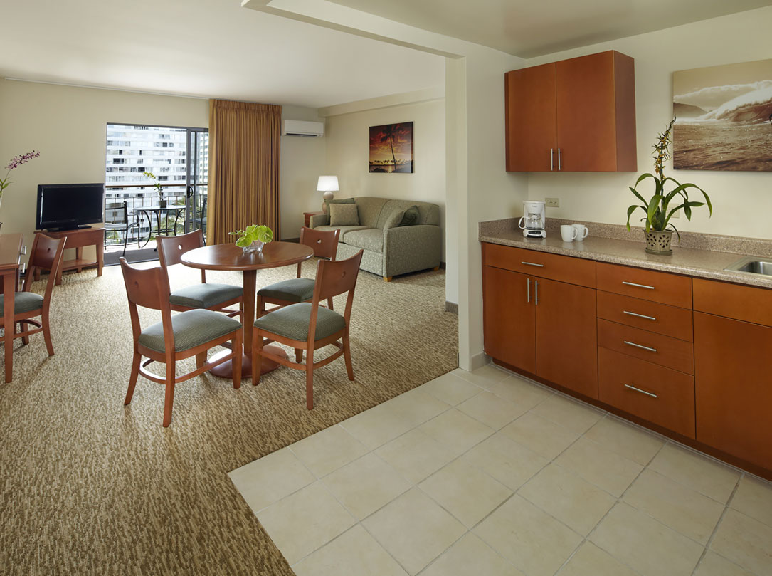 1 Bedroom Suite Kitchen and Living Area