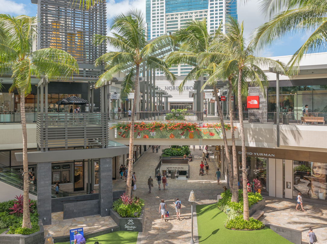Ala Moana Center courtyard near Nordstrom and NorthFace stores