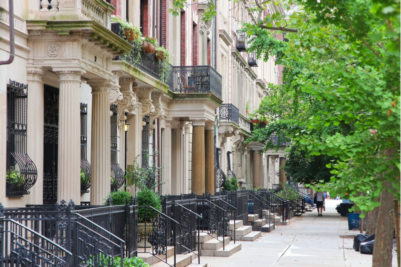 Old townhouses in Upper West Side neighborhood in Manhattan