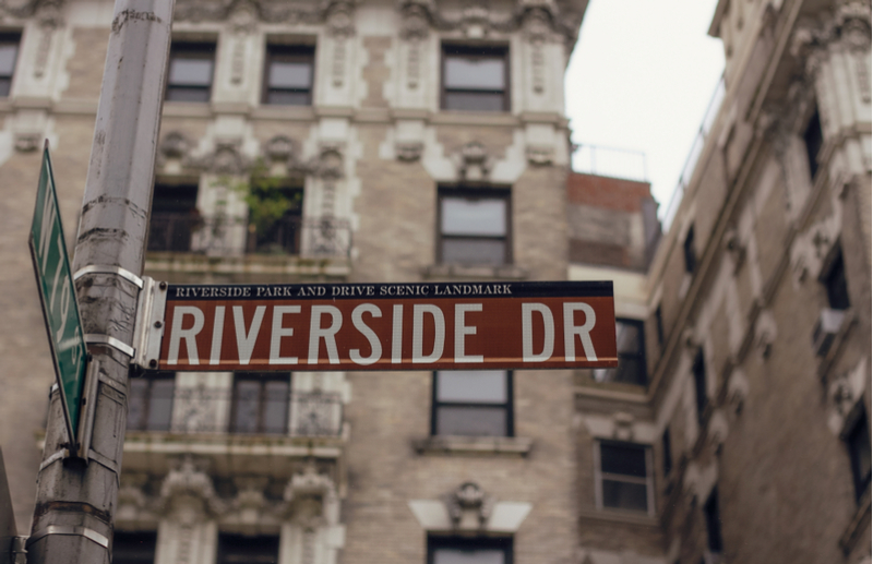 Image of Riverside Drive street sign on the Upper West Side in New York City