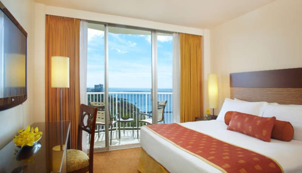 Park Shore Waikiki Ocean View Room with views from your private balcony