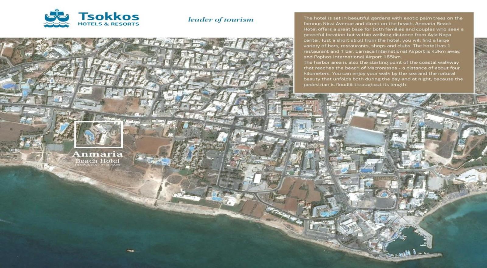 Anmaria Beach Hotel Ayia Napa Cyprus - Map of napa hotels