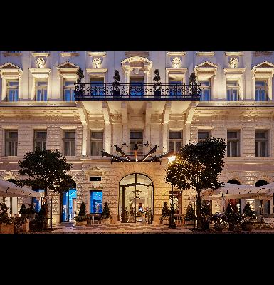 Aria Hotel Budapest Exterior at night